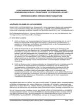 Vorstandsbeschluss Genehmigung der Auflösung einer Tochtergesellschaft