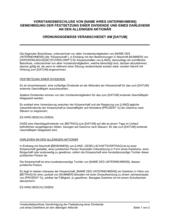Vorstandsbeschluss Genehmigung der Festsetzung einer Dividende und eines Darlehens