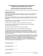 Vorstandsbeschluss Genehmigung der Änderung der Statuten