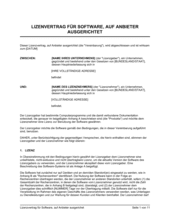 Lizenzvertrag für Software  auf Anbieter ausgerichet