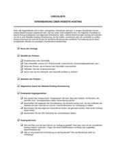 Checkliste Vereinbarung über Hosting