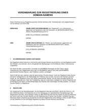 Vereinbarung zur Registrierung eines Domain Namens