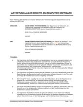 Abtretung aller Rechte an Computer Software