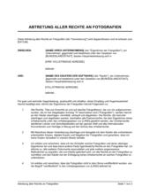 Abtretung aller Rechte an Fotografien