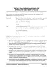 Abtretung des Urheberrechts - Mitteilung über Bestätigung