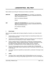 Lizenzvertrag Weltweite Lizenz