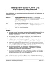 Vereinbarung zur Geheimhaltung und Vertraulichkeit über Website-Design
