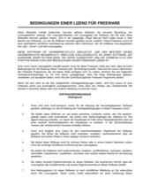 Bedingungen einer Lizenz für Freeware