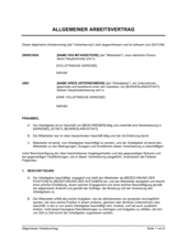 Allgemeiner Arbeitsvertrag
