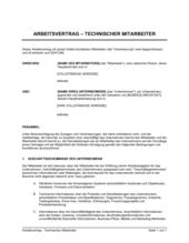 Arbeitsvertrag Technischer Mitarbeiter