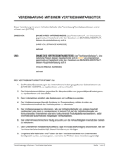 Vereinbarung mit einem Vertriebsmitarbeiter