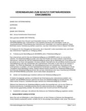 Vereinbarung zum Schutz fortwährenden Einkommens