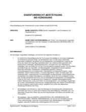 Eigentumsrecht - Bestätigung bei Kündigung