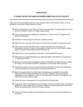 Checkliste 21 Dinge, die es für einen sicheren Arbeitsplatz zu tun gilt