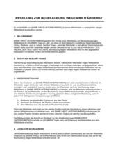 Regelung zur Beurlaubung wegen Militärdienst