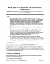 Richtlinien zur Verwendung von Technologie Ressourcen