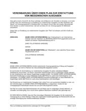 Vereinbarung über einen Plan zur Erstattung medizinischer Ausgaben