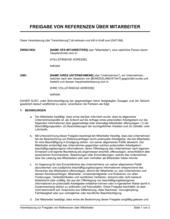 Vereinbarung zur Freigabe von Referenzen über Mitarbeiter
