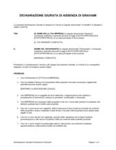 Dichiarazione giurata di assenza di gravami