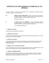 Certificato di costituzione