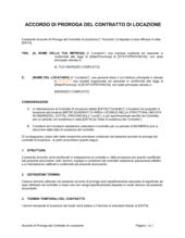 Accordo di proroga del contratto di locazione