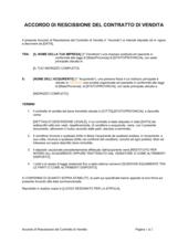 Accordo di rescissione del contratto di vendita