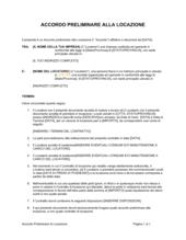 Accordo preliminare di locazione