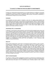 Lista di controllo clausole alternative documenti di investimento