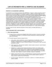 Lista di richieste per la verifica due diligence