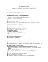 Lista di controllo elementi essenziali nella gestione dei rischi