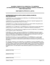 Delibera consiglio autorizzazione rilascio carte di credito aziendali