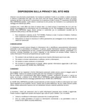 Disposizioni sulla privacy del sito web