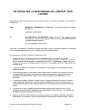Accordo per la rescissione del contratto di lavoro