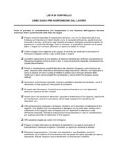 Linee guida pre-sospensione dal lavoro