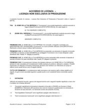 Accordo di licenza- licenza non esclusiva di produzione