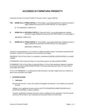 Accordo fornitura prodotti
