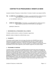 Contratto di produzione e vendita di beni