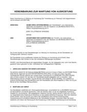 Vereinbarung zur Wartung von Ausrüstung