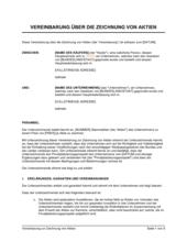 Vereinbarung zur Zeichnung von Aktien 1