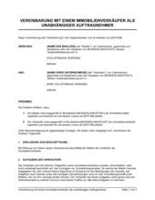 Vereinbarung mit einem Immobilienverkäufer als unabhängiger Auftragnehmer