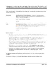 Vereinbarung zur Aufhebung eines Kaufvertrags