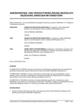 Anerkenntnis- und Verzichtserklärung bezüglich Beziehung zwischen Mitarbeitern