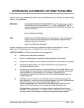 Verordnung zur Zustimmung für Kreditaufnahmen