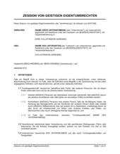Zession von geistigen Eigentumsrechten