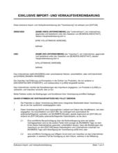 Exklusive Import- und Verkaufsvereinbarung