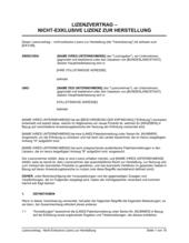 Lizenzvertrag - Nicht-Exklusive Lizenz zur Herstellung