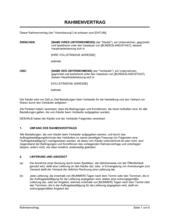 Rahmenvertrag - Verkauf von Waren