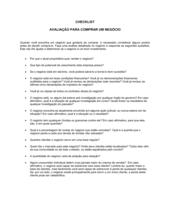Lista de Conferência Avaliação para Comprar um Negócio