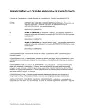 Atribuição e Transferência Absoluta de Empréstimos