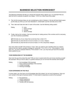 Worksheet Business Selection